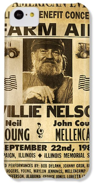 Vintage Willie Nelson 1985 Farm Aid Poster IPhone 5c Case by John Stephens