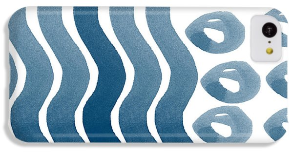 Waves And Pebbles- Abstract Watercolor In Indigo And White IPhone 5c Case by Linda Woods