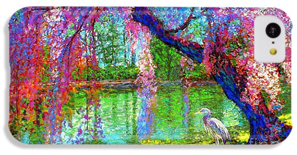 Weeping Beauty, Cherry Blossom Tree And Heron IPhone 5c Case by Jane Small