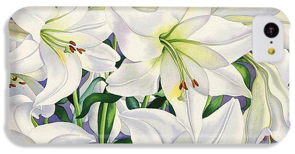 White Lilies IPhone 5c Case by Christopher Ryland