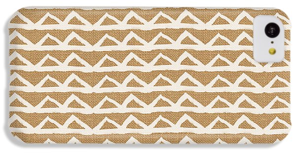White Triangles On Burlap IPhone 5c Case by Linda Woods