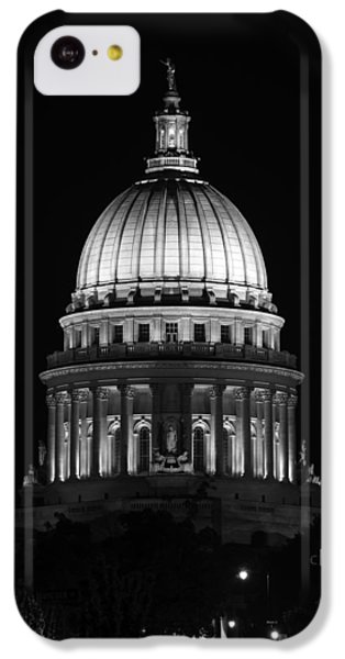 Wisconsin State Capitol Building At Night Black And White IPhone 5c Case by Sebastian Musial