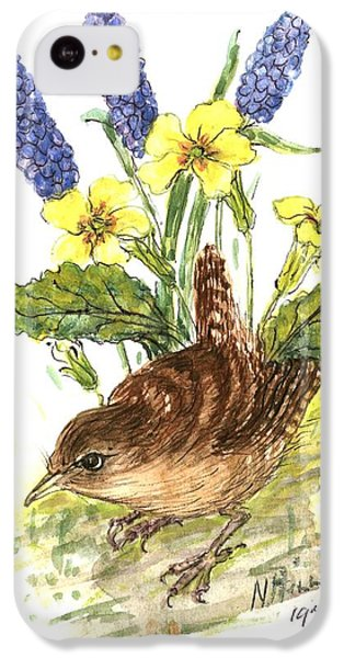 Wren In Primroses  IPhone 5c Case by Nell Hill