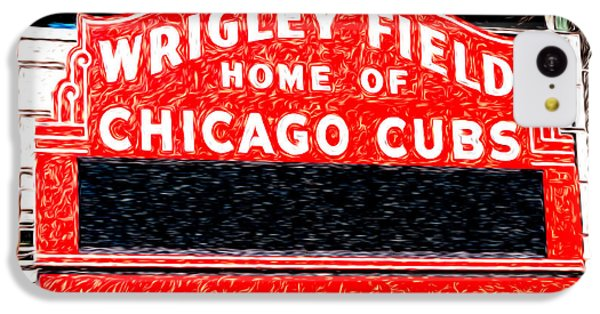 Wrigley Field Chicago Cubs Sign Digital Painting IPhone 5c Case by Paul Velgos