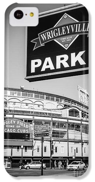 Wrigleyville Sign And Wrigley Field In Black And White IPhone 5c Case by Paul Velgos