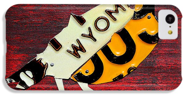 Wyoming Meadowlark Wild Bird Vintage Recycled License Plate Art IPhone 5c Case by Design Turnpike