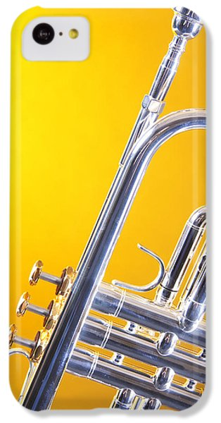 Silver Trumpet Isolated On Yellow IPhone 5c Case by M K  Miller