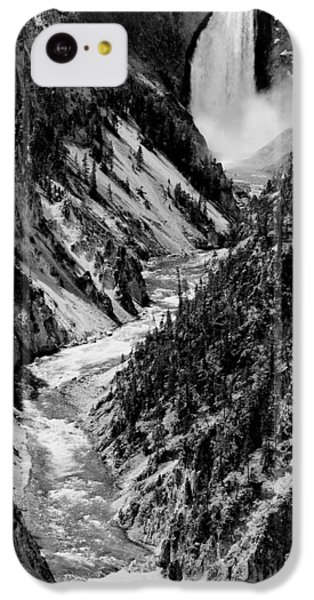 Yellowstone Waterfalls In Black And White IPhone 5c Case by Sebastian Musial