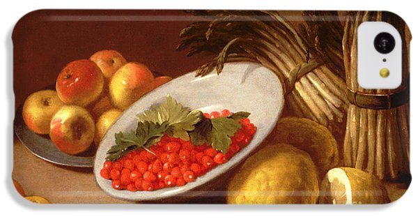 Still Life Of Raspberries Lemons And Asparagus  IPhone 5c Case by Italian School