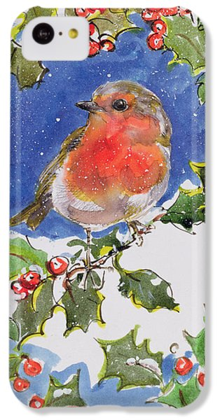 Christmas Robin IPhone 5c Case by Diane Matthes