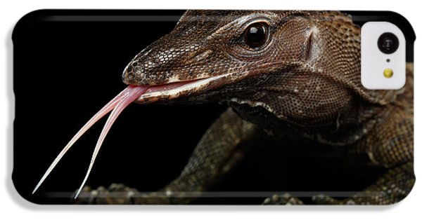 Close-up Varanus Rudicollis Isolated On Black Background IPhone 5c Case by Sergey Taran