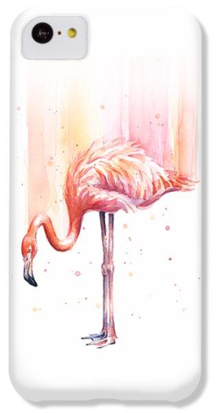 Pink Flamingo Watercolor Rain IPhone 5c Case by Olga Shvartsur