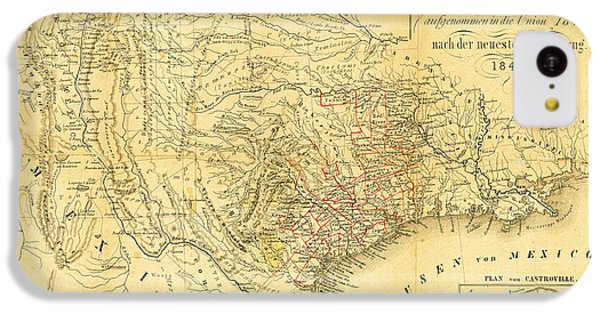 1849 Texas Map IPhone 5c Case by Bill Cannon