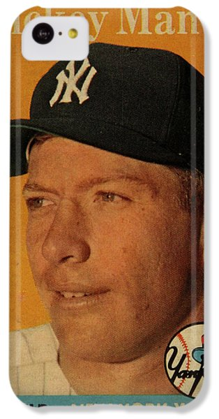 1958 Topps Baseball Mickey Mantle Card Vintage Poster IPhone 5c Case by Design Turnpike