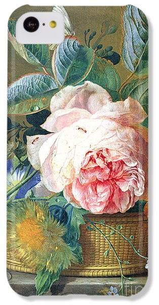 A Basket With Flowers IPhone 5c Case by Jan van Huysum
