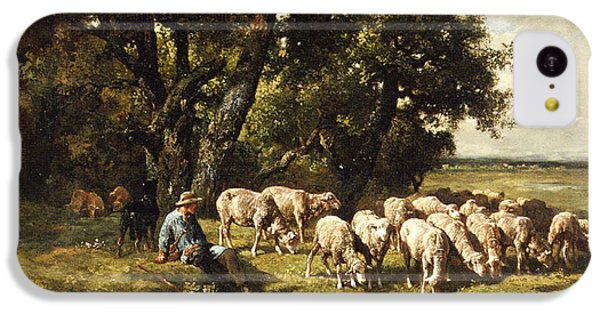 A Shepherd And His Flock IPhone 5c Case by Charles Emile Jacques