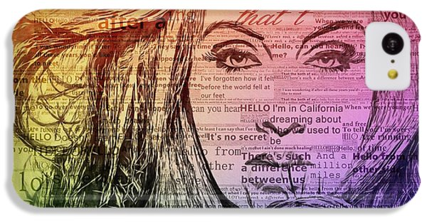 Adele Hello Typography  IPhone 5c Case by Dan Sproul
