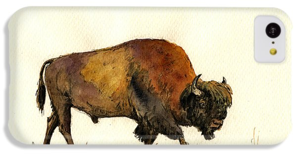 American Buffalo Watercolor IPhone 5c Case by Juan  Bosco
