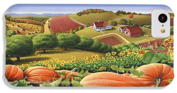 Farm Landscape - Autumn Rural Country Pumpkins Folk Art - Appalachian Americana - Fall Pumpkin Patch IPhone 5c Case by Walt Curlee