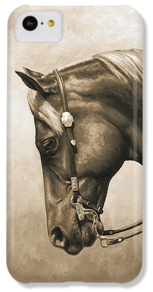Western Horse Painting In Sepia IPhone 5c Case by Crista Forest