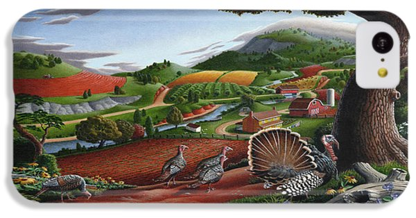 Wild Turkeys Appalachian Thanksgiving Landscape - Childhood Memories - Country Life - Americana IPhone 5c Case by Walt Curlee