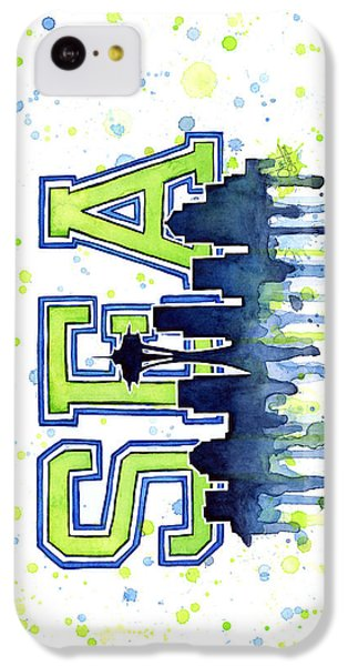 Seattle Watercolor 12th Man Art Painting Space Needle Go Seahawks IPhone 5c Case by Olga Shvartsur