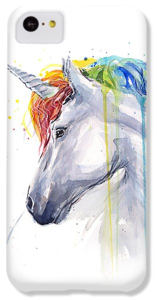 Unicorn Rainbow Watercolor IPhone 5c Case by Olga Shvartsur