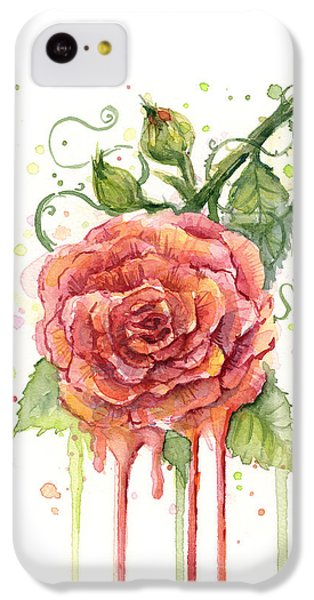 Red Rose Dripping Watercolor  IPhone 5c Case by Olga Shvartsur