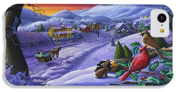 Christmas Sleigh Ride Winter Landscape Oil Painting - Cardinals Country Farm - Small Town Folk Art IPhone 5c Case by Walt Curlee