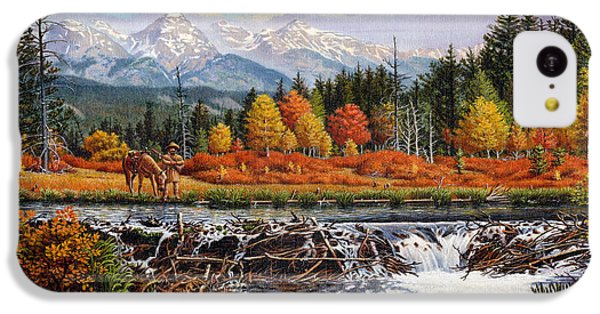 Western Mountain Landscape Autumn Mountain Man Trapper Beaver Dam Frontier Americana Oil Painting IPhone 5c Case by Walt Curlee