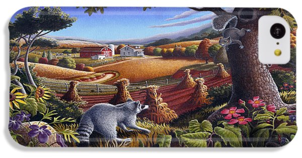 Rural Country Farm Life Landscape Folk Art Raccoon Squirrel Rustic Americana Scene  IPhone 5c Case by Walt Curlee