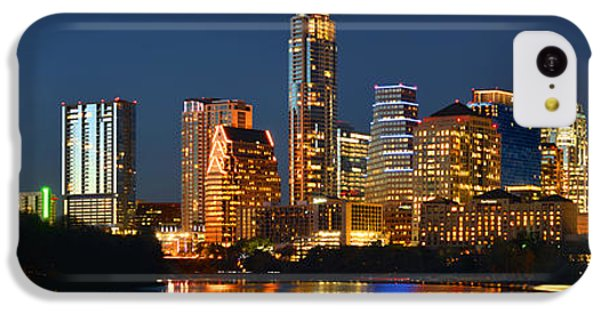 Austin Skyline At Night Color Panorama Texas IPhone 5c Case by Jon Holiday