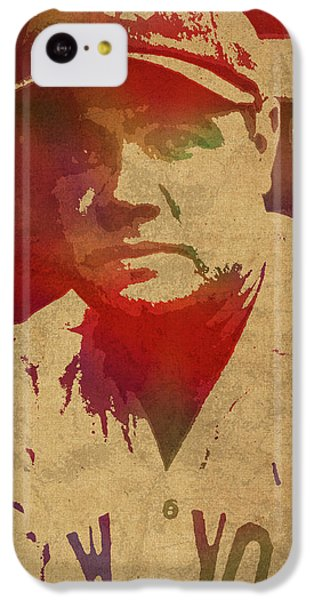 Babe Ruth Baseball Player New York Yankees Vintage Watercolor Portrait On Worn Canvas IPhone 5c Case by Design Turnpike