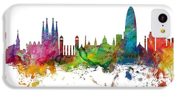 Barcelona Spain Skyline Panoramic IPhone 5c Case by Michael Tompsett