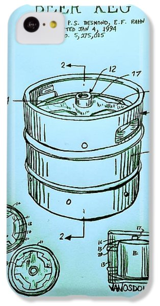 Beer Keg 1994 Patent - Blue IPhone 5c Case by Scott D Van Osdol