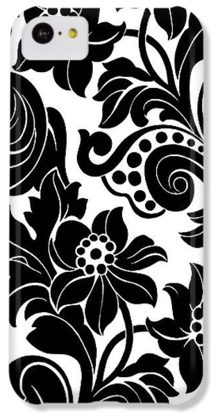 Black Floral Pattern On White With Dots IPhone 5c Case by Gillham Studios