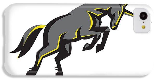 Black Unicorn Horse Charging Isolated Retro IPhone 5c Case by Aloysius Patrimonio