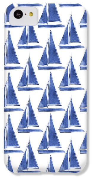 Blue And White Sailboats Pattern- Art By Linda Woods IPhone 5c Case by Linda Woods