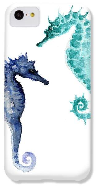 Blue Seahorses Watercolor Painting IPhone 5c Case by Joanna Szmerdt
