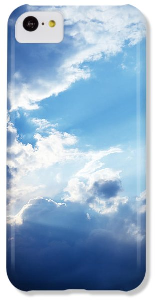 Blue Sky And Clouds With Sun Light IPhone 5c Case by Jozef Klopacka