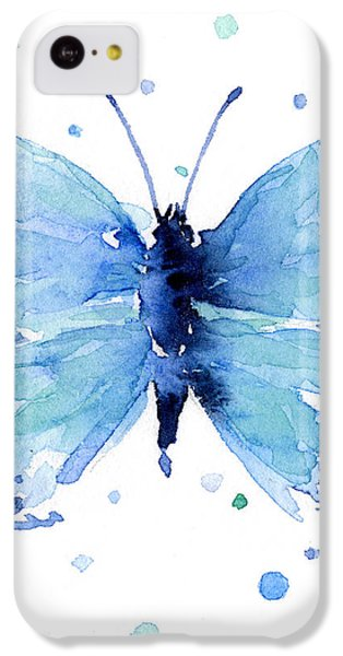 Blue Watercolor Butterfly IPhone 5c Case by Olga Shvartsur