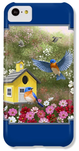 Bluebirds And Yellow Birdhouse IPhone 5c Case by Crista Forest