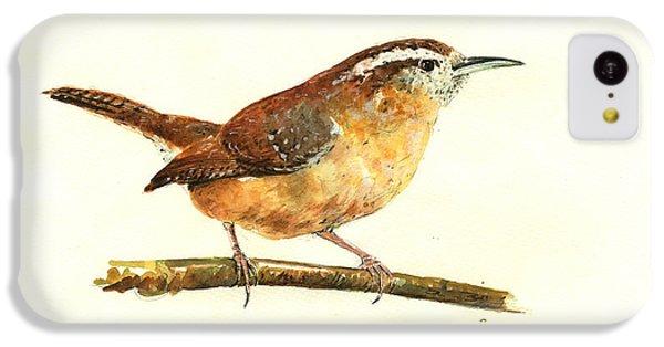 Carolina Wren Watercolor Painting IPhone 5c Case by Juan  Bosco