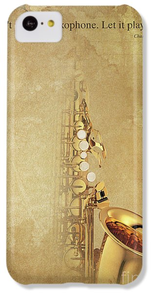 Charlie Parker Saxophone Brown Vintage Poster And Quote, Gift For Musicians IPhone 5c Case by Pablo Franchi