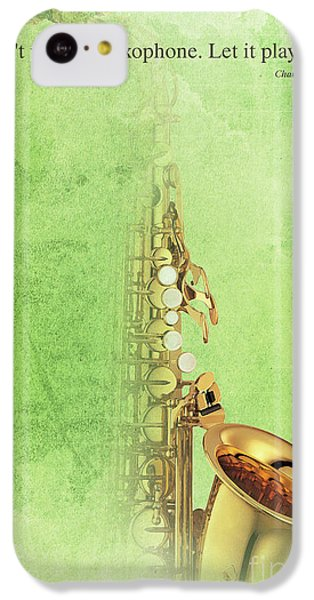 Charlie Parker Saxophone Green Vintage Poster And Quote, Gift For Musicians IPhone 5c Case by Pablo Franchi