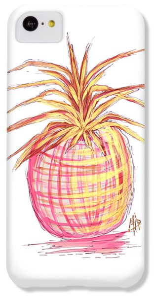 Chic Pink Metallic Gold Pineapple Fruit Wall Art Aroon Melane 2015 Collection By Madart IPhone 5c Case by Megan Duncanson