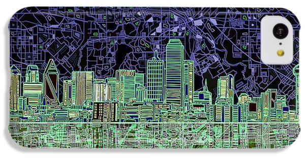 Dallas Skyline Abstract 4 IPhone 5c Case by Bekim Art