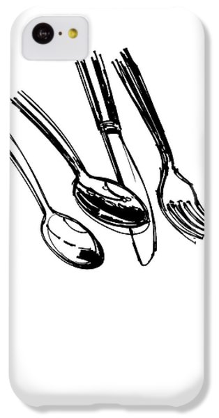 Diner Drawing Spoons, Knife, And Fork IPhone 5c Case by Chad Glass