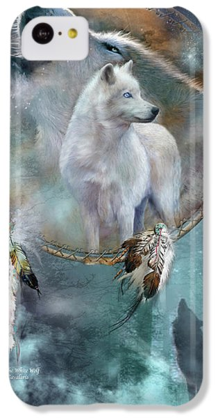 Dream Catcher - Spirit Of The White Wolf IPhone 5c Case by Carol Cavalaris