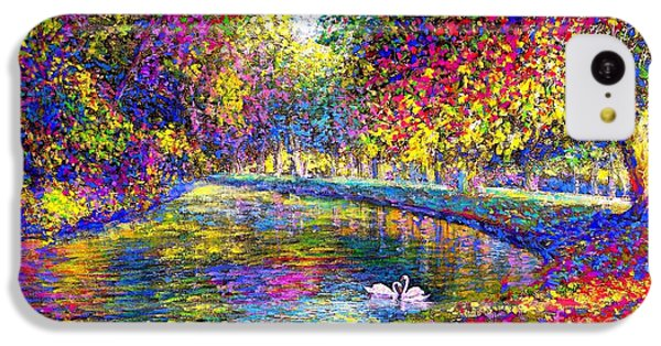 Drifting Beauties, Swans, Colorful Modern Impressionism IPhone 5c Case by Jane Small